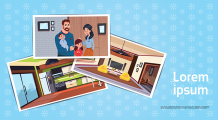 Set Of Photos Of Young Family In New Home In Living Room And Kitchen Buying House Concept Flat Vector Illustration