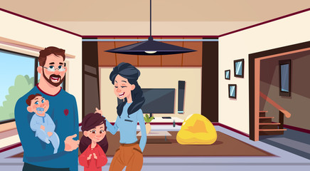 Young Family Parents With Two Kids In Modern Living Room At Home Flat Vector Illustration