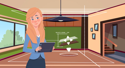 Woman Holding Digital Tablet Using Smart Home App Over Living Room Background Modern Technology Of House Monitoring Concept Flat Vector Illustration