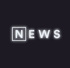 Paranormal activity news message logo. Monochrome news feed concept, white neon illuminated text on black background, vector illustration.