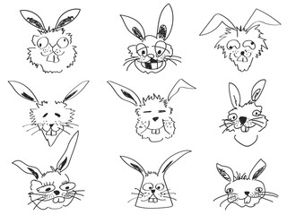 doodle funny rabbit face head