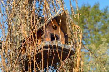 Miniature birdhouse decoration hanging on tree