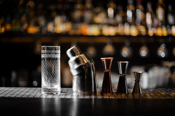 Barman essentials on a blurred background of bar