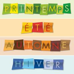 saison - été - automne - printemps - hiver - saisons - couleurs - mot - quatre - bannière
