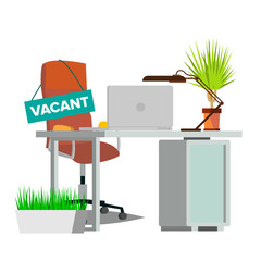 Vacancy Concept Vector. Office Chair. Vacancy Sign. Empty Seat. Business Recruitment, HR. Vacant Desk. Human Resources Management. Flat Isolated Illustration
