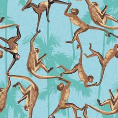 Wall Mural - Monkey jungle seamless pattern