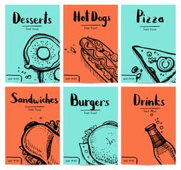 Fast food vintage hand drawn graphic design set. Restaurant menu vector illustration with burger, pizza, dessert, drink, hot dog. Cafe price catalog, junk food retro poster with snack linear sketches