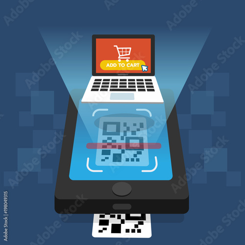 Shopping online concept  Scanning QR code on smartphone screen with
