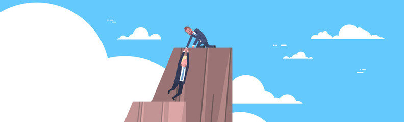 Business Man Helping Colleague To Climb On Mountain Top Teamwork And Support Concept Horizontal Banner Flat Vector Illustration