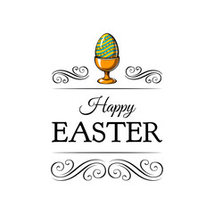 Colorful painted easter egg. Egg holder with decoration. Vector.