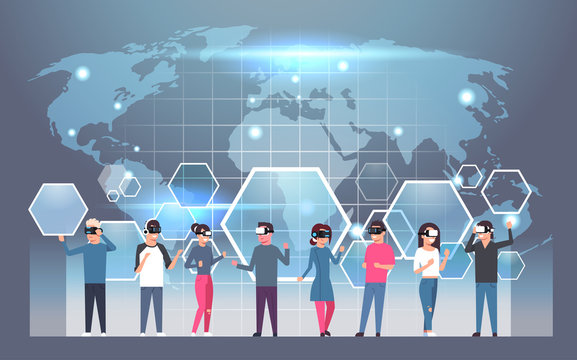 Group Of People Wearing Vr Headset Virtual Reality Glasses Over World Map Background Flat Vector Illustration