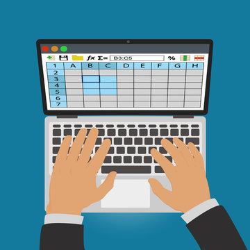 Spreadsheets. Work on laptop