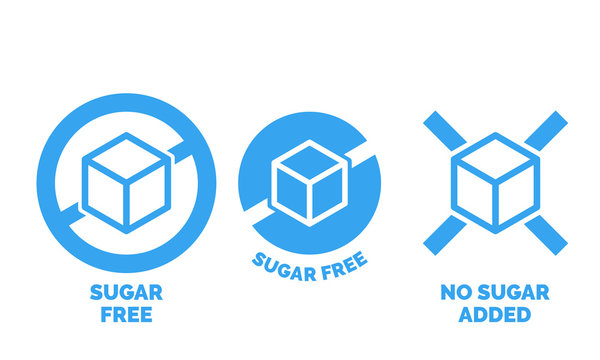 Sugar free label for no sugar added product package icon design template. Vector blue sugar free food symbol