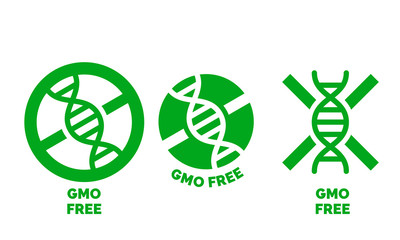 GMO free label for no gmo added product package icon design template. Vector green DNA symbol for GMO free food