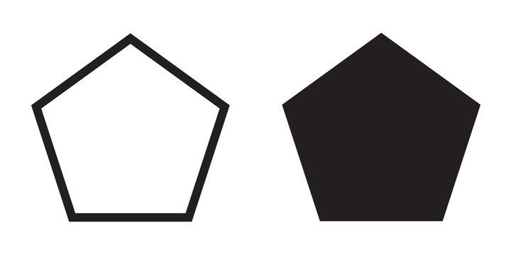 Pentagon icon of vector geometry pentagonal five-sided polygon pentagon line
