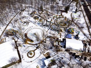 winter, old, colored carousel, aerial photography, background image