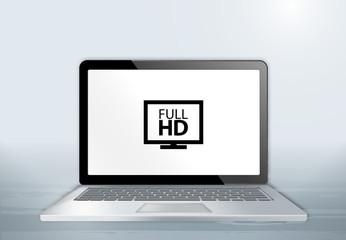 Laptop auf Holztisch - Full HD