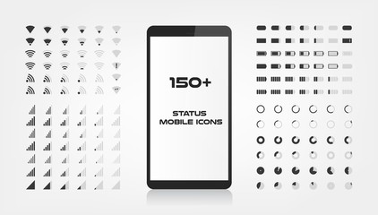 About 150 interface icons. Mobile battery power charger, wifi signal and connection level sing set. The round shape with the filled and empty risks For mobile applications web and desktop. EPS 10