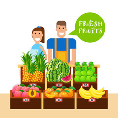 Woman And Man Selling Fresh Fruits On Organic Food Market Natural Healthy Products Concept Vector Illustration