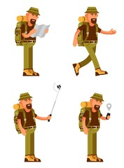 Bearded traveler with hat, backpack and tourist equipment in different poses, uses a map and GPS on smartphone, makes a selfie. Illustration in flat style.