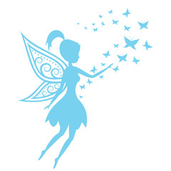 Silhouette of a fairy with butterflies