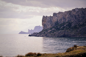 Rocks on the beach in Crimea. Black sea