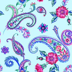 Seamless pattern of paisley, watercolor picture in oriental style.