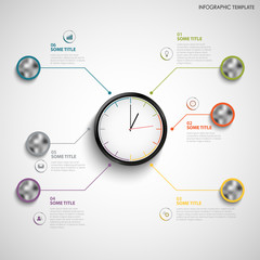 Abstract info graphic with color design clock template
