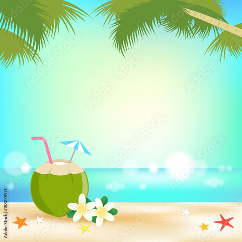 Summer background banner and frame with young coconut juice and sea ...