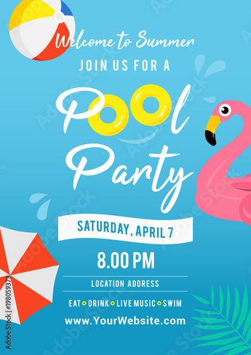 Pool party invitation vector illustration. Swimming pool ...