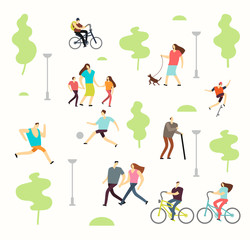 Happy active people in various lifestyles in spring park with trees. Man and woman walking outdoor