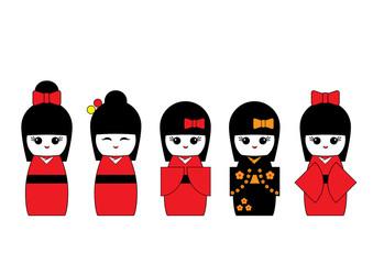 Set of Japanese Kokeshi dolls