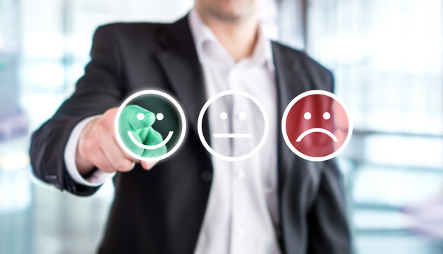 Business man giving rating and review with happy smiley face emoticon icon. Customer satisfaction and service or product quality survey or poll. Modern abstract feedback concept.