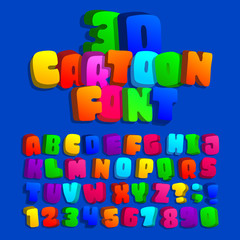 3d cartoon alphabet font. Kids funny colorful letters, numbers and symbols. Stock vector typeface for  any typography design.