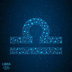 Sign of the zodiac Libra composed of 3D triangles, lines, dots and formations. Vector illustration of the EPS 10.