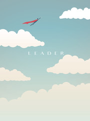 Businessman as superhero flying above clouds, leadership vector concept. Business symbol of power, vision, opportunity.