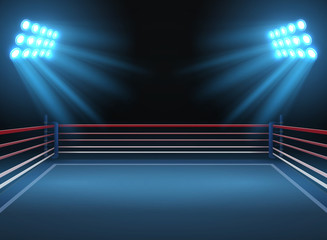 Empty wrestling sport arena. Boxing ring dramatic sports vector background