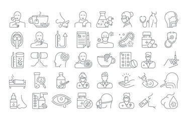 Vector graphic set. Icons in flat, contour, outline thin and linear design. Common cold. Symptoms, treatment, prevention. Simple isolated icons. Concept illustration Web site. Sign, symbol, element.