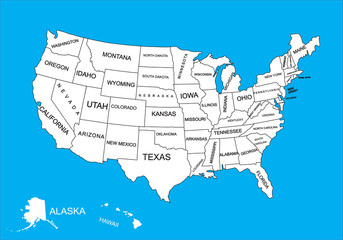 Editable blank vector map of  United States. Vector map of United states of America isolated on background. High detailed usa map.Administrative divisions of United States, separated countries..