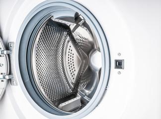 Open washing machine close up