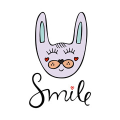 Hand drawn vector illustration with cute bunny and word smile.