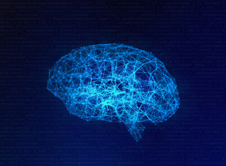 Blurry Human brain on blue background in the form of artificial intelligence for technology concept, 3d illustration