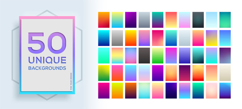 50 best unique soft color gradients. Modern screen vector design for mobile app, future poster, flyer, card template. Vector soft color background.