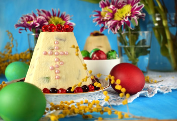 Paskha. Cottage cheese dessert with candied fruits. Traditional meal for Easter holidays