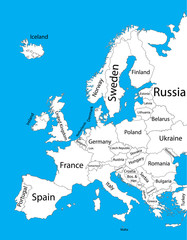 Editable blank vector map of  Europe. Vector map of Europe isolated on background. High detailed. Autonomous communities of Europe. Administrative divisions of Europe, separated provinces.