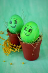 Green Easter eggs with funny drawn faces