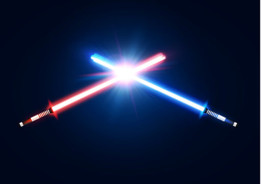 Red and blue crossed light neon swords with trembling blade fight. Laser sabers war design. Scifi style. Glowing rays in space. Battle elements with star, flash particles. Colorful vector illustration