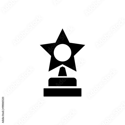 Trophy Star Winner Award Flat Vector Icon Simple Black Symbol On White Background