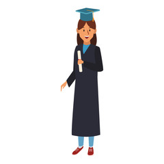 Young woman student with graduation gown vector illustration graphic design