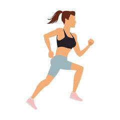 Fitness woman running cartoon vector illustration graphic design